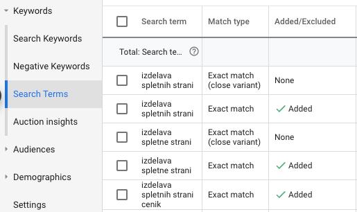 Iskalni izrazi in negativne ključne besede v Google Ads