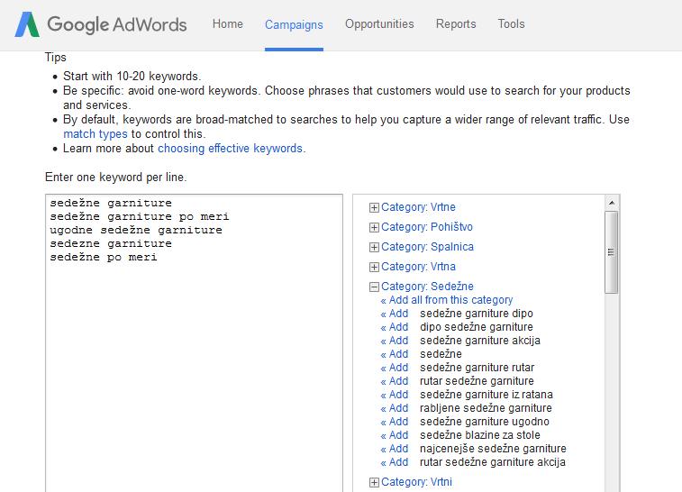 Oblikovanje oglasa v AdWordsih