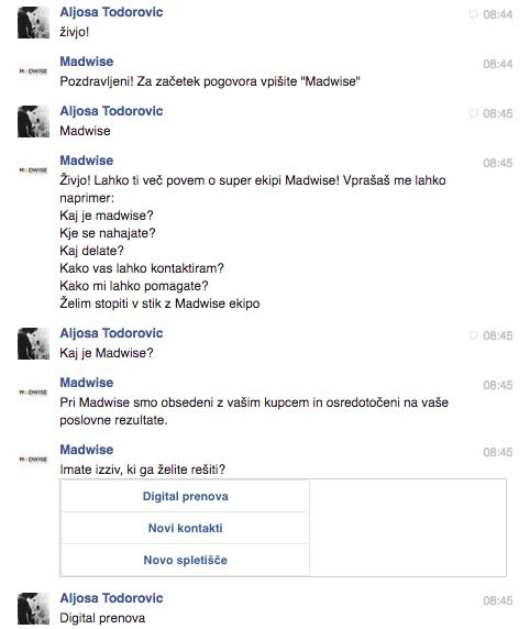 Primer interakcije s chat-botom