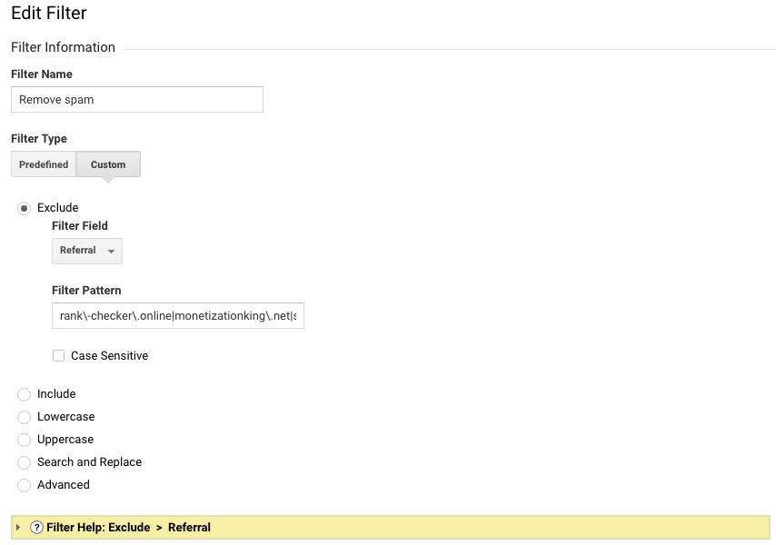 Google Analytics filtri