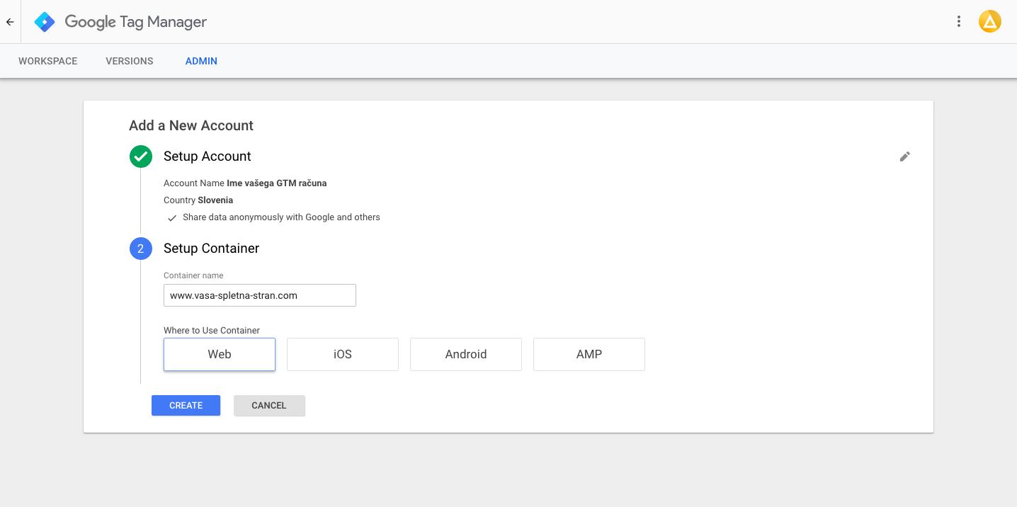 Google Tag Manager - Ime vsebnika