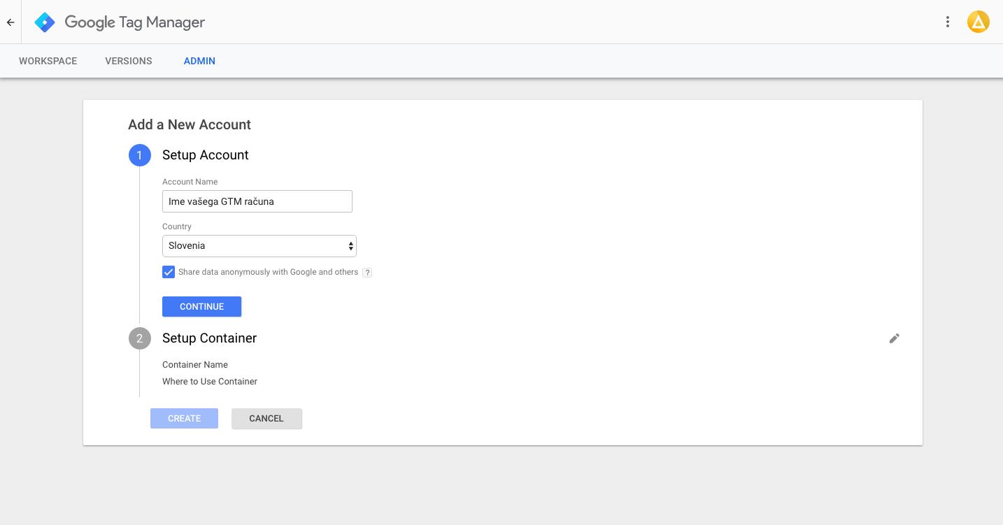 Google Tag Manager - Ime računa