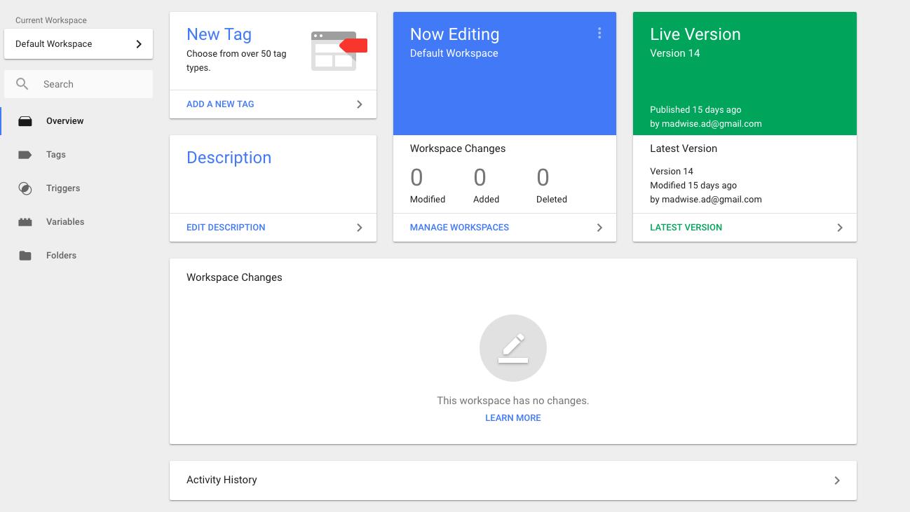 Google Tag Manager - Uporabniški vmesnik