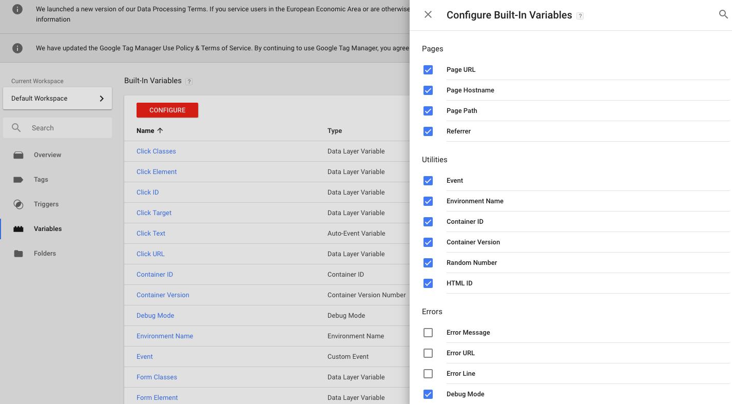 Google Tag Manager spremenljivke