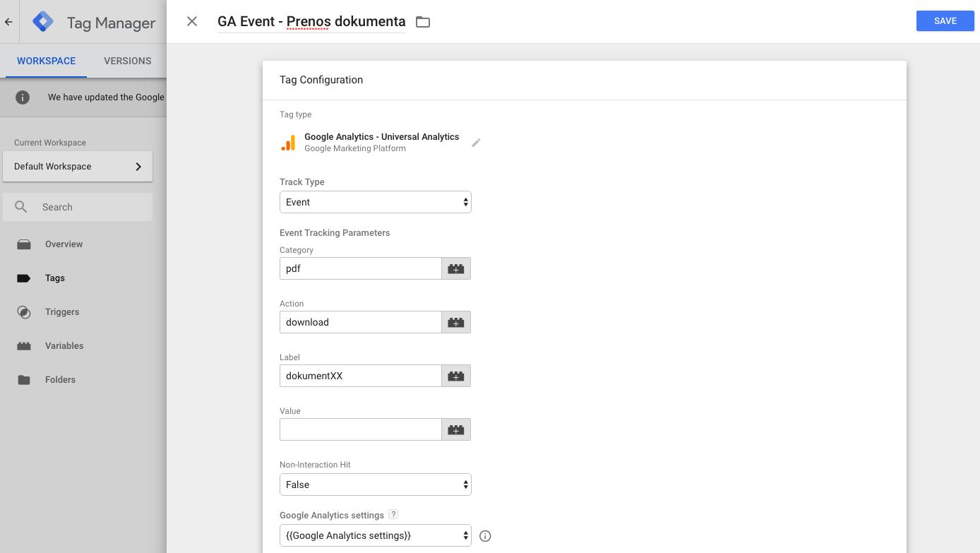 GTM event oznaka