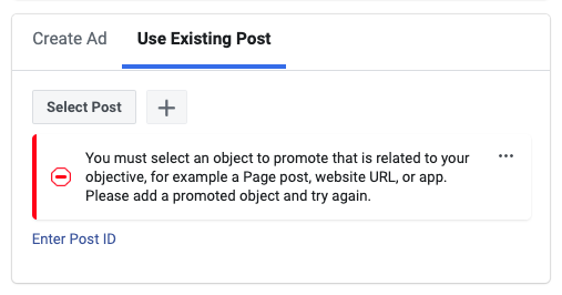 Facebook Existing post